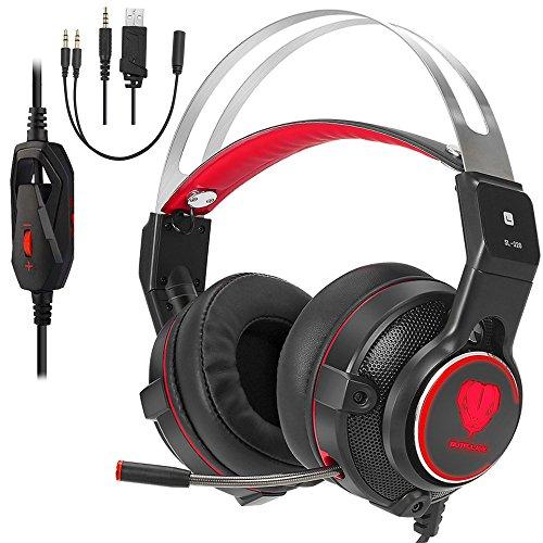 Dxnbikt Gaming Headset für PC Mac, 3.5mm Wired Kopfhörer mit Mic, LED Licht und Noise Cancelling Headphone für Xbox One, Laptop, Nintendo Switch, Smartphone (Schwarz/Rot)