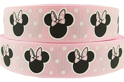 "Image of 1 METRE MINNIE MOUSE BABY PINK DOT CHARACTER RIBBON 7/8"" 22MM"