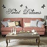 MFEIR Stickers Murali frasi Stickers Murali camera da letto 'Sweet Dreams' 25 x 70cm