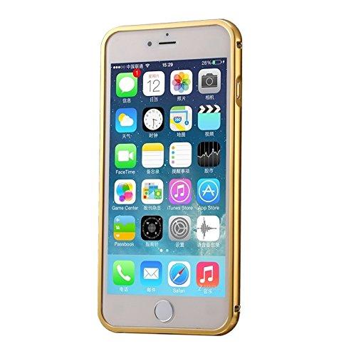 Pour iPhone 6 / 6s, Diamond Encrusted Push-pull style plaqué métallique cadre de pare-chocs + boîtier de contre-couverture en acrylique YAN ( Color : Pink ) Gold