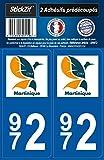 STICKZIF SR972 2 Adhésif Autocollants Région Département 972 Martinique, Set de 2