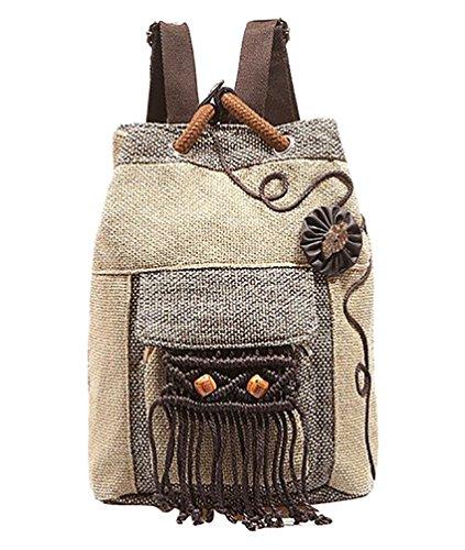 YAANCUN Donna Leggera Borsa da Viaggio Zaino di Tela Backpack Daypack Casuale Zainetto Studenti Zaini All'aperto con Nappe Beige