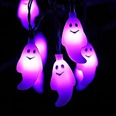 HAYATA Lila Gespenst Lichterketten - 20 LED 2.5m Batteriebetriebenes Halloween Lichterketten - für Halloween Lichter, Halloween Party Dekor, Halloween Dekoration, Halloween Beleuchtung, Innen