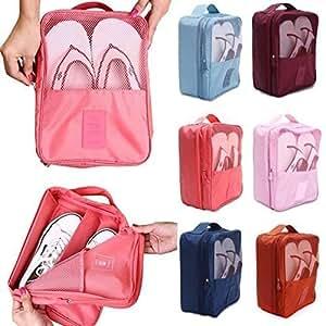 DENSITY COLLECTION Nylon Multicolour Shoe Travel Organizer Bag - 3 Pairs