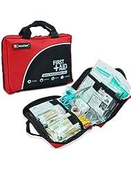 Sac de trousse de premiers secours de 160 pièces - Comprend un paquet de glace (glace), couverture d'urgence, Glow Stick, boussole, ciseaux pour (Rouge)