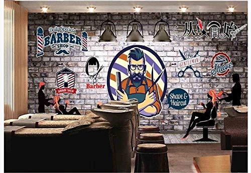 Apoart 3D Wandtapete Männliche Schönheitssalonfriseursalon-Hintergrundwand Der Ursprünglichen Retro- Backsteinmauer 400Cmx280Cm - Männliche Eisbären