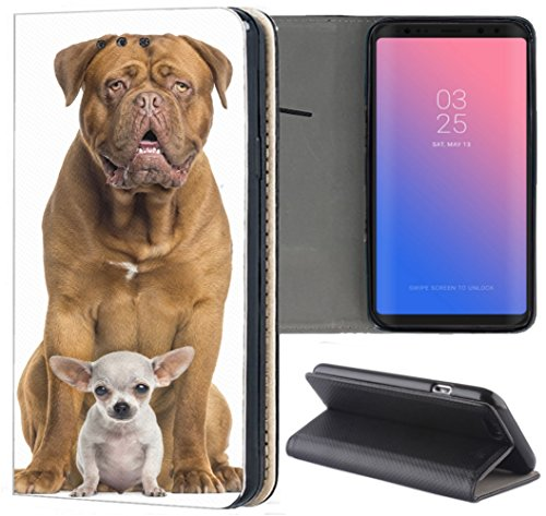 S3 Neo Hülle Premium Smart Einseitig Flipcover Hülle Samsung S3 Neo Flip Case Handyhülle Samsung S3 Motiv (1392 Bordeauxdogge und Baby Chihuahua Hund) ()