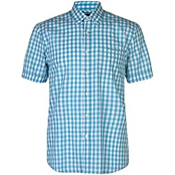 Pierre Cardin Hombre Camisa de Manga Corta Estampado Cuadros o Geométrico con Bordado de Firma (XL, Turquoise/White Quadrato)