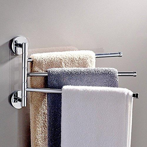 GDrems Badezimmer Swing Arm Handtuch Bars 3-arms Wandhalterung Edelstahl gebürstet Handtuchhalter, Chrom Finish (3Bars) - Chrom Swing-arm Handtuchhalter