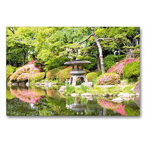 calvendo una lanterna in pietra che non può mancare in nessun giardino giapponese in un impianto da giardino fiorito, 90x60 cm