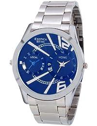 Exotica Blue Dial Analogue Watch for Men (EX-90-Dual-CB)