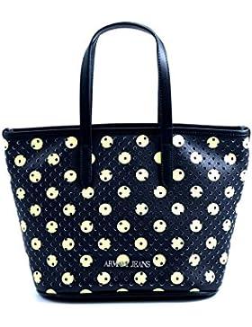Borsa shopping piccola Armani Jeans da donna in eco pelle traforata nera con fantasia a pois gialli.