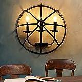 BIDTIAXI Loft Vintage Lámpara de Pared Easy Iron Aplique Redondo Redondo Antiguo Luces de Pared Bar Lights Restaurante Accesorio E14 Lámpara de iluminación Interior 3 Llamas Ø33 * W15cm
