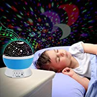 XFH Multicolor Cute Stars Night Lamp Soft Musical Projector Lamp With Soft Lights 360 Rotating Round Night Light Projector Lamp Kids Bedroom Bed Lamp For Christmas Children Blue by XFH