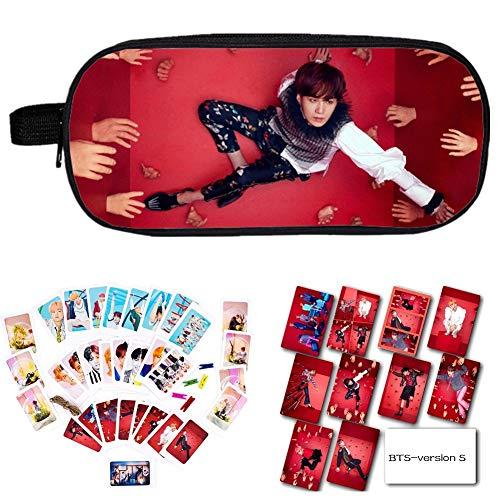 YEeyuTrwd BTS Merch Kit BTS Bangtan Boys BTS Love Yourself Answer, Bleistiftetui/Kosmetiktasche + BTS-Kartenaufkleber + BTS-Fotokarte mit Clip und Hanfseil(Version S6) Jacken Fan