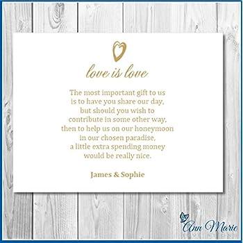 50 Personalised Wedding Money Poem Honeymoon Wish Poems Card Gift