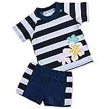 HUANQIUE Badeanzug Mädchen Junge Unisex Bademode mit UV-Schutz Anzüge Streifen Blüte Navy 92/98