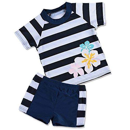 HUANQIUE Badeanzug Mädchen Junge Unisex Bademode mit UV-Schutz Anzüge Streifen Blüte Navy 104/110