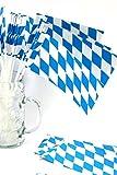 Bavariashop 50 Papierfahnen Bayern, Farbe weiß blau, 40 cm lang, Dekoration für Balkon, Terrasse, Garten