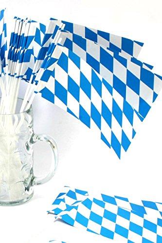 rfahnen Bayern, Farbe weiß blau, 40 cm lang, Dekoration für Balkon, Terrasse, Garten ()