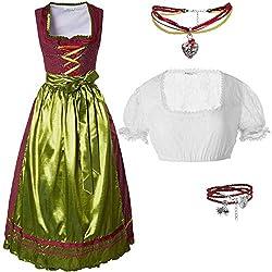 dressforfun 950023 Damen Trachtenset, 3-teilig, Rot Goldenes Langes Dirndl + weiße Trachtenbluse mit Armband und Halskette - Diverse Größen (Dirndl M | Bluse M | Nr. 350199)
