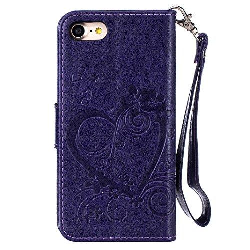 iPhone 7 Flip Cover, iPhone 7 Handyhülle mit Lanyard, iPhone 7 Bumper Flip Case, Moon mood® Mit Diamanten Ledertasche Brieftasche für iPhone 7 (4.7 Zoll) ,PU Leder Hülle Wallet Case Folio Schutzhülle  U-Lila
