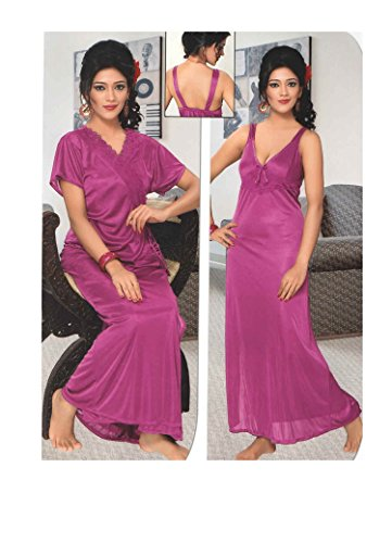 ce29792da42 Indiatrendzs Women s Nighty 2 Pcs Satin Pink Night Wear Set Available  Colors  Pink
