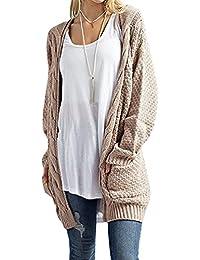 d25585d79b9b YOUJIA Damen Kabel Strickjacke Strickmantel Pullover Outwear Jacke Cardigan  mit Taschen