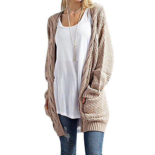 YOUJIA Femmes Câble Cardigan Gilet a Macnhes Longues Pullover Jacket en Tricot Sweater Veste Pull avec Poche (Kaki, CN XL)