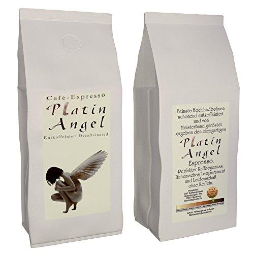 Espresso / Cafe - Kaffeebohnen Entkoffeiniert 'Platin Angel' - Säurearm Und Bekömmlich, Schonend...