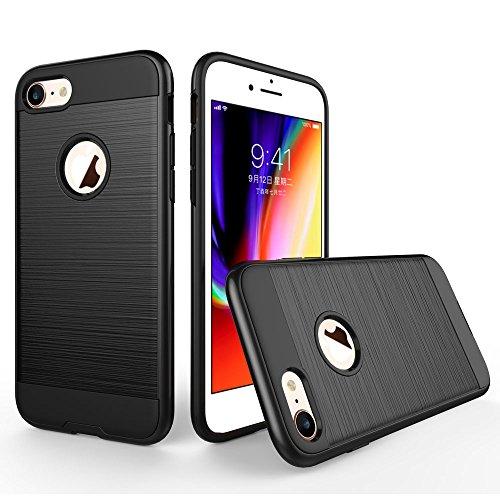 UKDANDANWEI Apple iPhone 8 Hülle,Super Schild Hohe Gel Silikon Haut Slim Fit Zurück Schale Abdecken Schutzhülle Case Cover für Apple iPhone 8 - Rot Schwarz