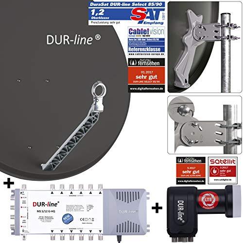 DUR-line 12 Teilnehmer Set - Qualitäts-Alu-Satelliten-Komplettanlage - Select 85cm/90cm Spiegel/Schüssel Anthrazit + Multischalter + LNB - für 12 Receiver/TV [Neuste Technik, DVB-S2, 4K, 3D]