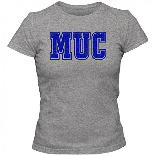 MUC Premium T-Shirt | Airport-Shirt | München | Reisen | Frauen | Shirt © Shirt Happenz Graumeliert (Grey Melange L191)