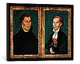 """Gerahmtes Bild von Lucas Cranach """"Martin Luther, Katharina von Bora, c.1526"""", Kunstdruck im hochwertigen handgefertigten Bilder-Rahmen, 70x50 cm, Schwarz matt"""