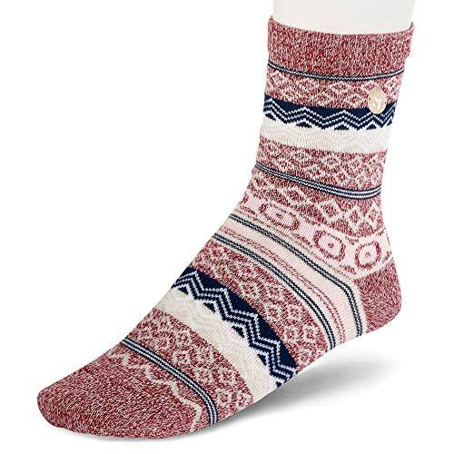 BIRKENSTOCK 1015063 Damen Socken mit tollem Jaquard-Dessin angenehmes Fußklima, Groesse 39/41, altrosé/gemustert