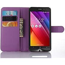 Nadakin Asus Zenfone 2 Laser ZE500KL 5.0 Inch Calidad Premium Cartera de Cuero con Carcasa de Teléfono Flip Funda con Soporte Magnetico de Cierre para Asus Zenfone 2 Laser ZE500KL 5.0 Inch (Púrpura)