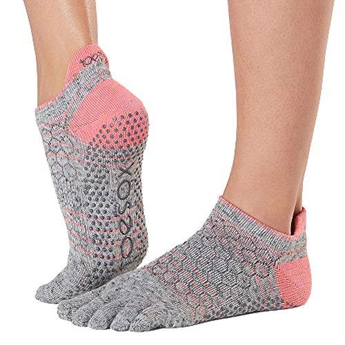 Toesox Damen Women\'s Low Rise Full Grip Non-Slip for Ballet, Yoga, Pilates, Barre Toe Socks, Maniac, m