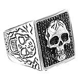 Adisaer Silberring Antik Ring Herren Schwarz Silber Bar Punk Platz Schädel Toten Kopf Diamant Stein Ringgröße 57 (18.1) Gothic Retro Vintage Verlobung Ringe Für Sohn
