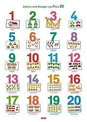 Fragenbär-Lernposter: Zahlen und Mengen von 1 bis 20 (in der Schulbuch-Druckschrift) M 50 x 70 cm: Gerollt, matt folienbeschichtet, abwischbar (Lerne mehr mit Fragenbär)