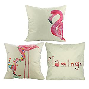 Luxbon 3 stk. Flamingos Vogel Leinen Kissenbezug Lendenkissen Bettkissen Pillowcase Hülle Haus Couch Stuhl Zimmer Auto Deko 45 x 45 cm