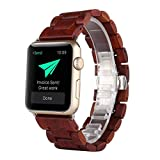 Apple Watch Band 42MM, ANKUR® ébano madera recambio Correa muñeca banda Apple Watch & deporte & edición iWatch con adaptador de cierre (42MM, RED)