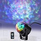 Viugreum- Mini RGB Luci da Discoteca Lampada Multicolore Faretti da Palco Effetto Onde Acqua 7 Colori Led Sensore Attivazione Sonoro Disco Ball Strobe Party Light