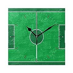 Idea Regalo - JIRT Orologio da Parete Sport Campo da Calcio Quadrato 8x8 Pollici Silenzioso Decorativo per la Scuola del Ministero degli Interni