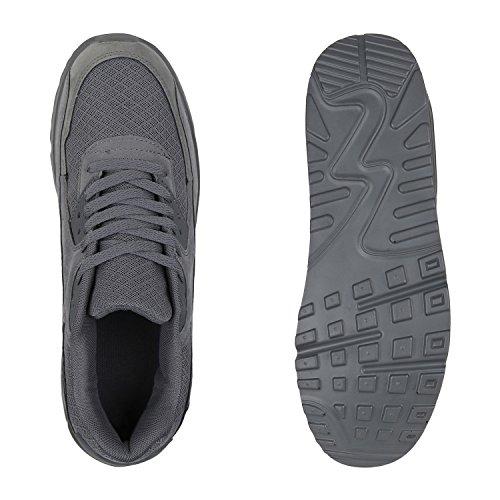 Stiefelparadies Herren Sportschuhe Leder-Optik Sneakers Velours Glitzer Metallic Runners Freizeitschuhe Schnürer Flandell Grau Bexhill