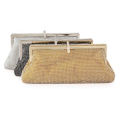 Damara Luxus Damen Voll Strassstein Clutch Handtasche,Gold Gold