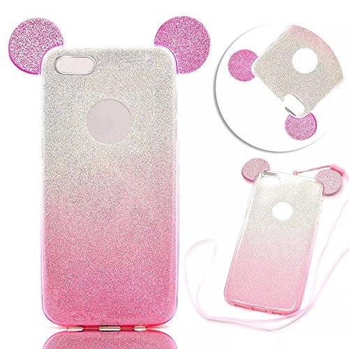 we3dcell (Maus Ohren Fall) mit Aufhängen Seil Cute Lovely 3D Cartoon Animal Design Soft Silikon Back Case Cover für iPhone 6Plus/6S Plus (Pink) (Iphone 6 Soft Case Cartoon)
