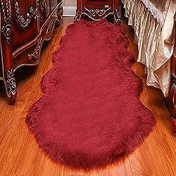 CJ&WIN Tapis de Style en Peau de Mouton Imitation Fourrure avec Coussin en Similicuir Doux pour Le canapé de la Chambre à Coucher Rouge 25 cm (65 po) (65 cm; 150 cm)