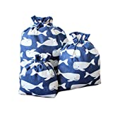 Travel Storage Bags Laundry Drawstring Ditty Bags With Whale Pattern,Deep Blue