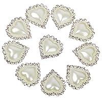 Heart Shape Rhinestone Faux Pearl Glue on Flat Back Embellishments 20mm x 25mm (Pack of 10pcs)