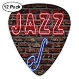 Celluloid Guitar Picks - 12 Pack,Abstract Art Colorful Designs,Image Of Alluring Neon All Jazz Light Sign With Saxophone Instrument On Brick Wall Print Theme,For Bass Electric & Acoustic Guitars.